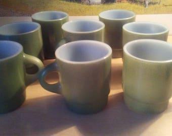 8 Green Fireking cups mugs unused