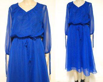 Blue sheer layered Dress Mid Length 70s Vintage Long Sleeve Retro Hippie Vtg Seventies 1970s Size S-M Small Medium