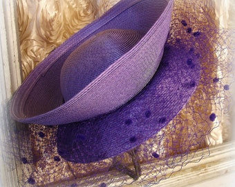 vintage chic derby hat Jody G for Sylvia of St. Louis unusual style purple straw with chenille dot purple millinery net