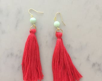 Coral Long Fringe with Blue Bead