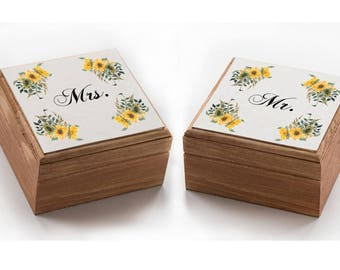 Sunflowers Wedding box, Mr. & Mrs ring box, Floral Ring bearer box, wedding ring box Summer Wedding box Wood ring boxes Ring Holder Set of 2