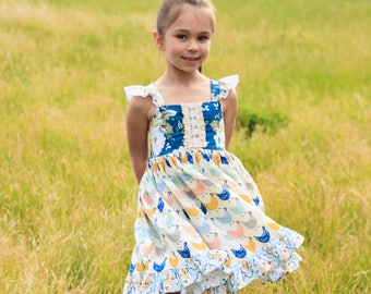 Girls Chicken Twirl Dress - Chicken Dress - Farm Dress - Country Dress - Back To School Dress