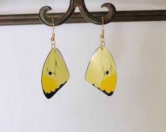 Handcrafted Butterfly Wing Earrings Jewelry Dangle Drop Earrings Yellow Butterflies Hand Painted 14k gold sterling silver hypoallergenic