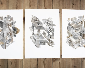 Machines - set of 3 prints. Size A4