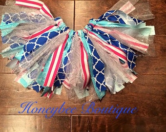 Fabric Tutu- Navy,Pink & Baby Blue Fabric Tutu with Silver Tulle