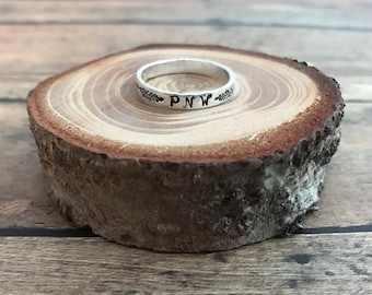 Pine Tree and PNW Stacking Ring, Hand Stamped, Sterling Silver Pine Tree and Pacific Northwest Stackable Ring