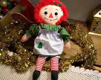 "Vintage 1988 Playskool Christmas Raggedy Ann Doll 18"" Childrens Toy Christmas Decoration"