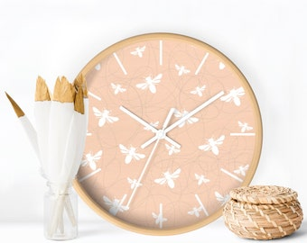 Wall clock, Peach Wall Clock, Bees pattern Clock, Modern Wall Clock, Modern Nursery Clock, Contemporary Nursery Decor