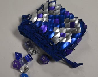 Dice Bag of Knitted Dragonhide Scale Armor Blue Reptile