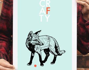 SALE - Fox art print, Fox poster, Animal lover wall art, Fox wall art, Crafty, Children's decor, Fox lover, Pastel decor