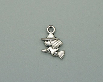 25pcs Witch Charms 16x10mm Antique Silver Tone Witch Riding Broom 2 Sided