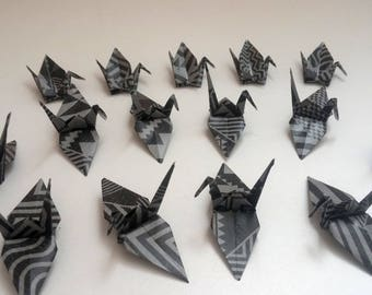 Set of origami cranes: black ethnic Collection