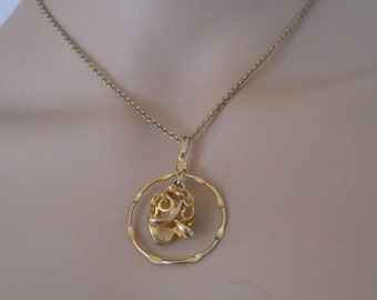 """Sarah Coventry Pendant Necklace, Gold Tone, 16"""" Chain, Sarah Cov Jewelry"""