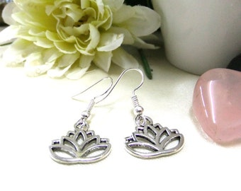 Small Silver Lotus Earrings, Small Earrings, Silver Earrings, Simple Earrings, Small Gift, Gift for Her, Boho Earrings,Lotus Flower Earrings
