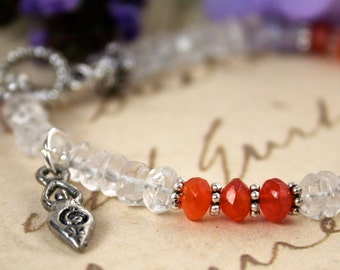 Fertility Bracelet with Blessing,  Carnelian and Quartz Crystal