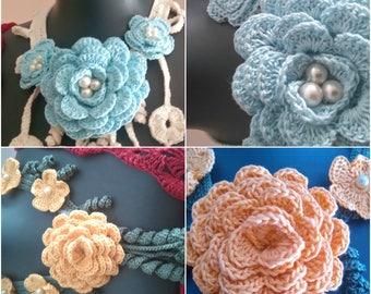 Necklace Accessories,Handmade Crochet Flower Necklace ,Cream ,Pink,Orange,Brown Colors