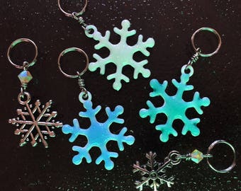 SALE Falling Snowflakes: Set of 6 Snowflake Stitch Markers for Knitters & Crocheters