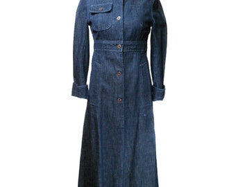 vintage MIU MIU denim dress coat / blue / cotton / dark wash denim / full length coat / dress coat / women's vintage coat / size 42