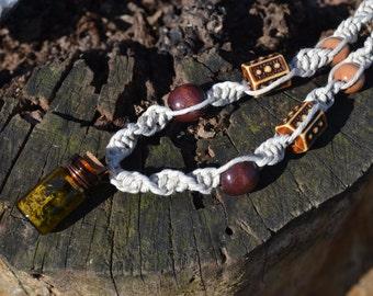Mossy Glass Bottle Terrarium Hemp Necklace