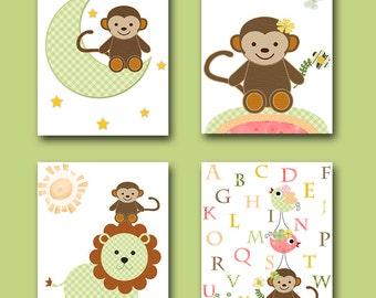 Playroom Monkey Nursery Alphabet Nursery Baby Girl Nursery Art Printable Art Instant Download Kids Room Decor Kids Art set of 4 8x10 11X14