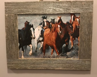 Rustic , country, reclaimed wood framed horses  print     Horse picture rustic frame