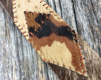 "Leather Cuff from Hair On Cowhide with Ostrich - Geometric Pattern - Size Small (6.5"" - 6.75"") by Stacy Leigh"