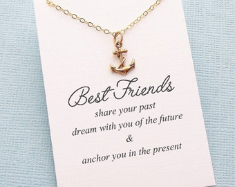 Best Friend Gift | Anchor Necklace, Friendship Necklace, Birthday Gift, Best Friend Necklace, Friends Friendship Gift, Sister Gift | F03
