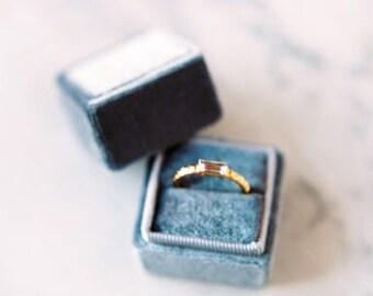 Ring Box  Velvet Vintage Style Jewerly Box Proposal Box Engagement Box Personalized Gift Wedding Box Gray