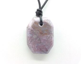 Purple Jadeite Jade  Pendant Bursa Turkey Double Sided Cabachon Polished Gem Stone Necklace #1