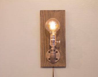 Rustic Light Edison Wall Sconce/ Steampunk Wall Lamp/ Farmhouse Pipe Wall Lamp 1 Round Bulb