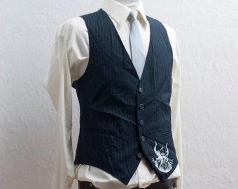 Men's Suit Vest / Medium / Vintage Navy Pinstripe Waistcoat / Screen Printed Viking / Size 39 #1490