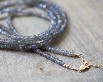 Long Beaded Labradorite Necklace, Long Layering Gemstone Necklace, Multi Wrap Labradorite Bracelet, 14k Gold Filled or Sterling Silver