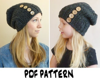 Knitting PATTERN Mommy and Me Button Slouch Beanies (Toddler, Child, Teen, Adult Size), Slouch Beanie Pattern, Knit Hat Pattern, Knitted Hat