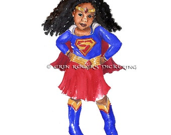Super Girl Natural Hair Red and Blue 8x10 Art Print
