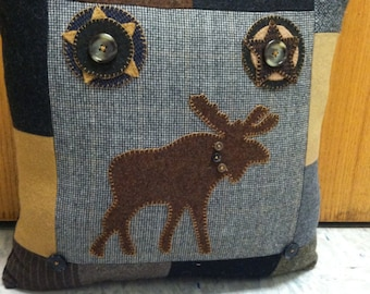 Wool Moose Pillow Lodge Cabin Decor Upcycled Wool Patchwork Woodland  moose Stars Cabin Accent by Northernlodge on Etsy