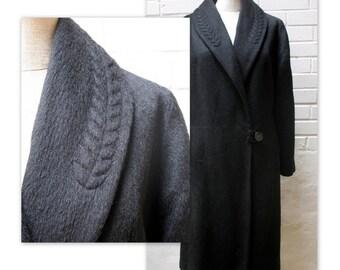 Manteau en laine Style poussette vintage des années 50 avec piquage Trapunto