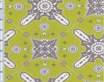 Lime Green Moorish Print Decor Cotton Twill, Fabric By The Yard