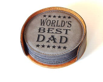 Gift Idea for Dad -Father's Day Gifts - Best Dad Ever - Dad Coasters - Daddy Birthday Gift - Engraved Coasters,  CAS023