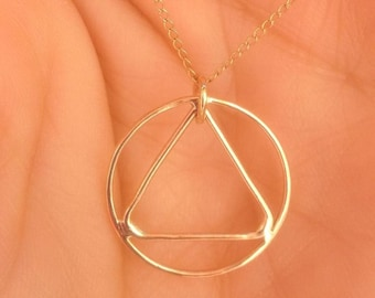 14K Gold AA Recovery Pendant on Gold Filled Chain
