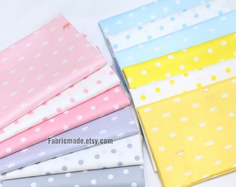 Pastel Polka Dots Crowns Cotton Fabric in Pink Blue Grey Gray Yellow - 1/2 Yard