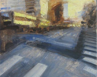 Los Angeles Urban Landscape 12x12 Contemporary Original Oil Painting Abstract Realism Cityscape Street Buildings Modern Art by DANIEL PECI