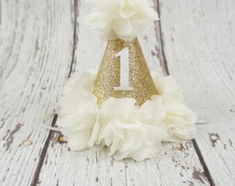 first birthday girl hat, 2nd birthday girls hat, gold birthday hat, 1st birthday hat, baby girl birthday hat, number hat, sparkle gold