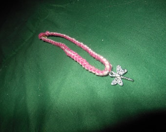 pink braided dragonfly bracelet