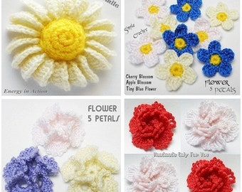 CROCHET PATTERN: Tutorials Flower Crochet Patterns Any 2 combo deal ~~ Instant Download ~~ PDF Files
