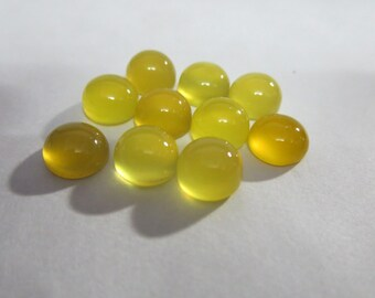 NATURAL YELLOW AGATE round cabochon 8x8 mm 2.80 cts  for one pcs