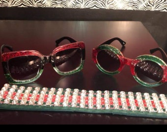 Green and Red Bling Headband with Glitter Sunglasses Designs By Desi