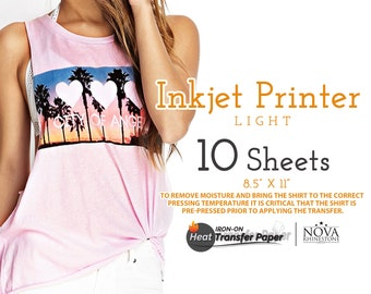 "Inkjet Iron-On Heat Transfer Paper, For Light fabric, 8.5"" x 11"", 10 Sheets FREE shipping"