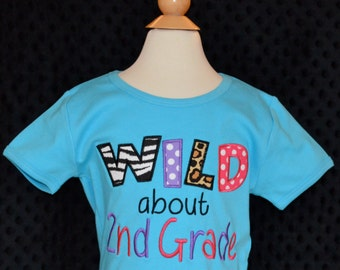 Personalized Wild about 1st 2nd Kindergarten or Pre School Applique Shirt or Bodysuit Boy or Girl