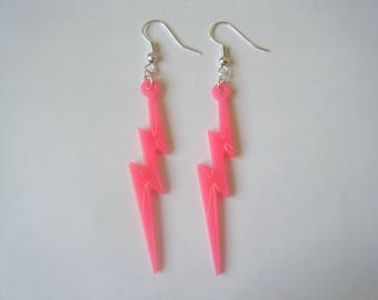 Lightning earrings ♥ ♥ neon pink