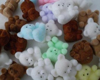 Vintage 80's Flocked Teddy Bear